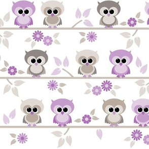 Baby owls in purple