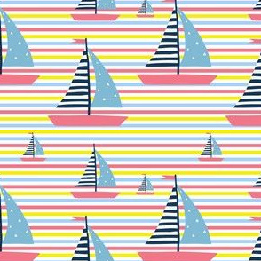 Summer Nautical Stripes & Sailboat in Pink