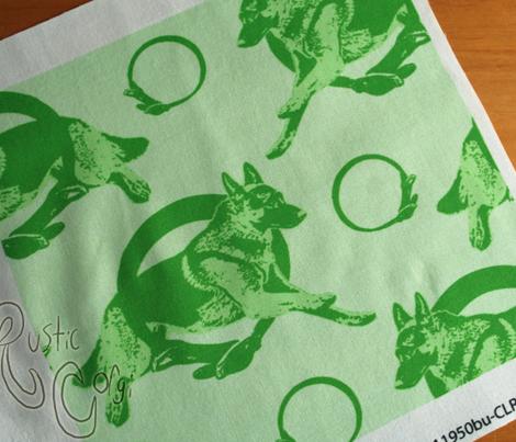 Collared leaping German Shepherd dog portraits - green