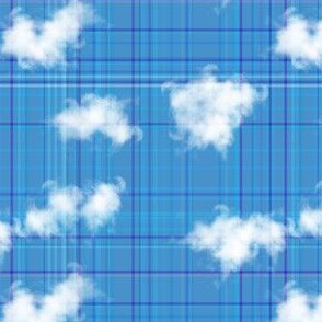 Blue Plaid with Clouds