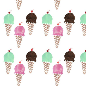 Watercolor Ice Cream Cones