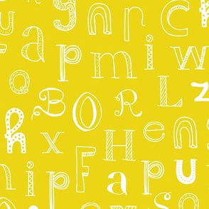 Cool kids alphabet abc design type text font fabric mustard yellow