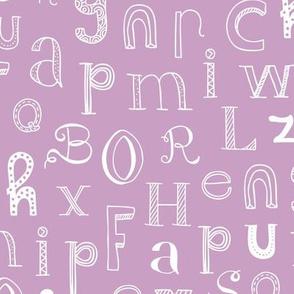 Cool kids alphabet abc design type text font fabric violet lilac