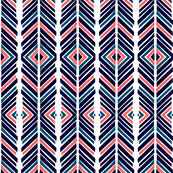 Navy Blue and Coral Geometric
