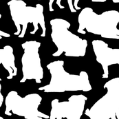 "Pug Silhouettes on Black - Large (3"")"
