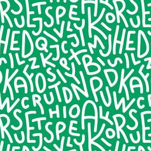 Green Letters Hand-Drawn Typography Alphabet