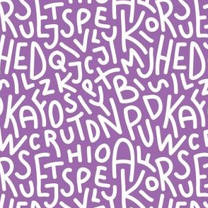 Purple Letters Hand-Drawn Typography Alphabet
