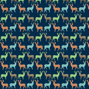 Meadow Deer in Multi with Navy