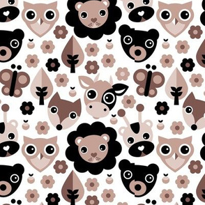 Farm life zoo safari and forest animals kids design in gender neutral beige