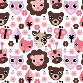 Farm life zoo safari and forest animals kids design in pink lilac