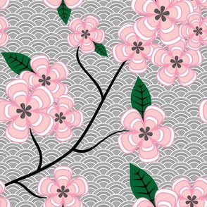Pink Flowers on Gray Echoes