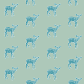 Dear Deer, Shabby Chic Teal on French Blue