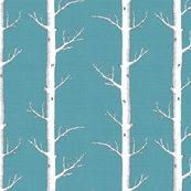 White Forest on Light Teal Linen