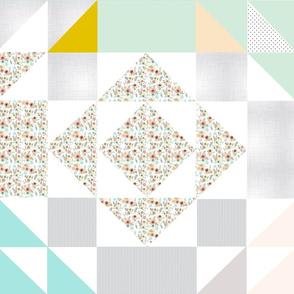 Floral HST Quilt