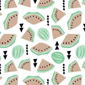 Lush summer watermelon fruit geometric water melon colorful tropical design gender neutral beige mint