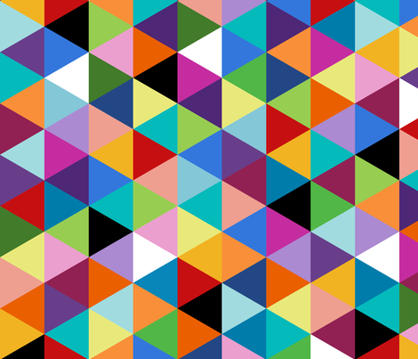 Colorful Geometric Triangle Cheater Quilt Pattern fabric - paintgoo - Spoonflower