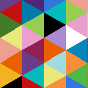 Colorful Geometric Triangle Cheater Quilt Pattern
