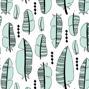 Aztec summer feathers bohemian ink black and white mint