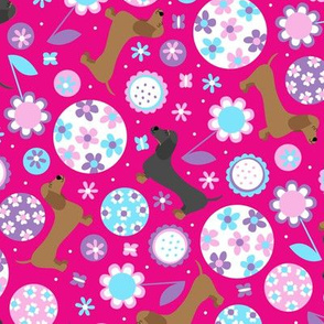 Dachshund Garden Party (Hot Pink)