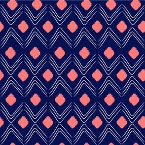 Navy Blue-and-Coral Diamond