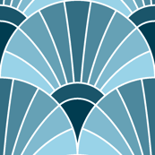 art deco fan scale : sailing blues