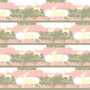 Cream Deer-stripes 3 Personalized-pink Ashley