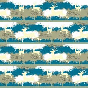 Cream Deer-stripes 3 Personalized -aqua Patrick