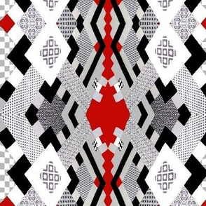 Tiles in Red,  White and Black