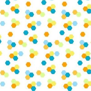 Aqua and Orange Hexagon Confetti