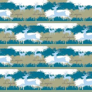 Blue Deer-stripes 3-aqua blue personalized Logan
