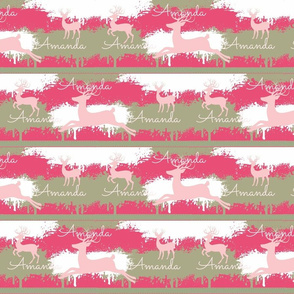 pink Deer-stripes 3 -  berry pink personalized Amanda