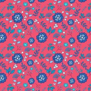 Blue flowers on dusty pink
