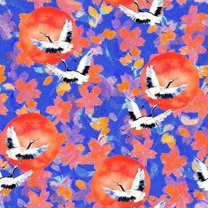 Japanese Garden: Cranes, Sun Blossoms LT