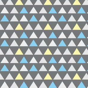 Blue and Yellow Pastel Triangles on Gray