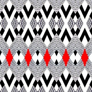 Tiles in Red,  White and Black 2