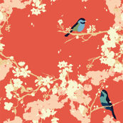 Birds and Blossoms in Vermillion