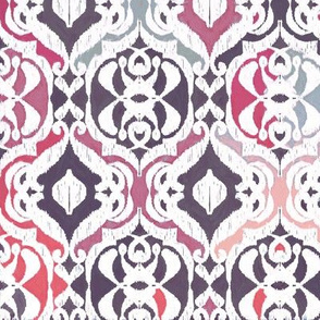 Winter Ikat Damask - plum and charcoal