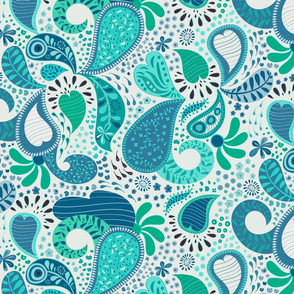 Crazy Paisley Blue Green