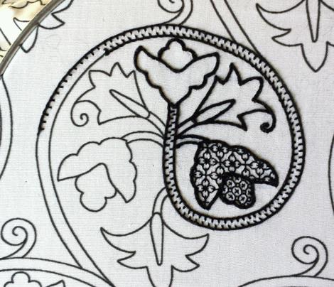 Elizabethan Scrolling Floral Blackwork