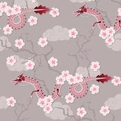 dragon between cherry trees