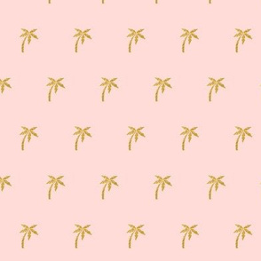 Gold Palm Tree on Pale Pink