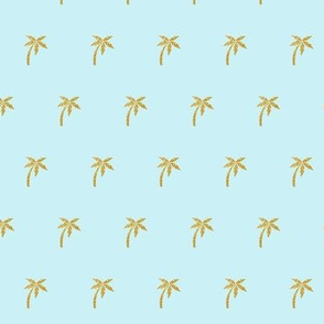 Gold Palm Tree on Pale Blue