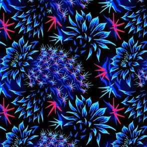 Cactus Floral - Bright Blue/Red