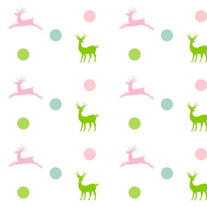 Deer - dotty pink lime