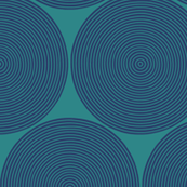 concentric circles - navy on teal
