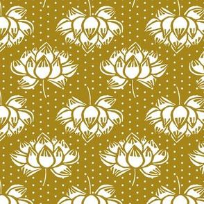 lotus // koi garden lotus mustard flower floral buddhism yoga floral woodcut
