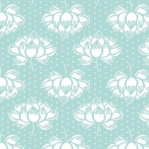 lotus // koi garden mint woodcut floral flowers soft garden