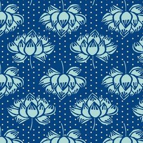 lotus // blue and mint lotus flower garden woodcut blockprint yoga