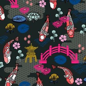 koi garden // koi fish Japan japanese garden pagoda kimono woodcut blockprint