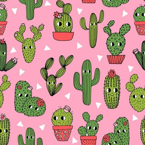 happy cactus // pink cute cactus kids summer plants funny characters